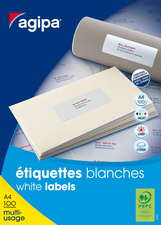 Agipa Etiquettes Multi Usage 35 X 105 Mm Coins Droits